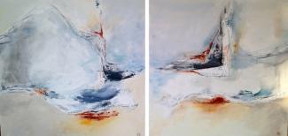 Annemiek van der Hart_De Verwondering_tweeluik_acryl op doek_2x 80x80