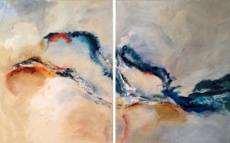 Annemiek van der Hart_Vliegende Vis_acryl op linnen_tweeluik_2x 80x100