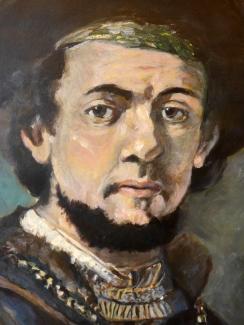 Anton Koenraads_Portret Rembrandt_acryl op karton_50x65-