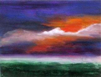 Dittie Nouwens_Sunset_acryl op olieverfpapier_20x30