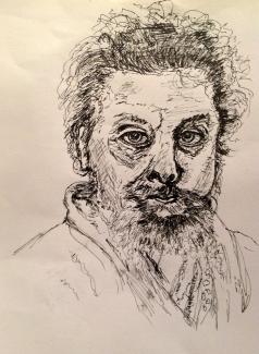 Dorie-Trienekens_Russisch-componist-Moessorgski_pen-en-inkt_30x40