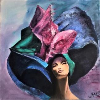 Franca-Kasdorp_Vrouw-met-hoed_acryl-gemengde-techniek_90x90