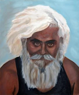 Henny Houtzager_Indiase bedelaar_olieverf_50x60