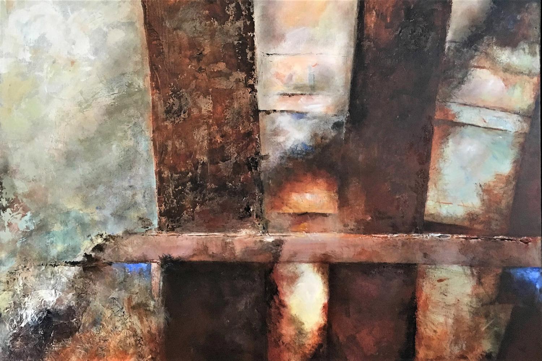 Franca-Kasdorp_Houten-balken_acryl_120x100