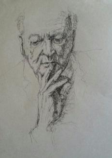 José Kreveld-Soons (YOZAY)_Peinzend_pen op-papier_28x36
