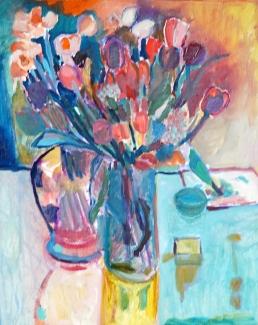 Mieke van den Broek_Tulpen en narcissen_40x50