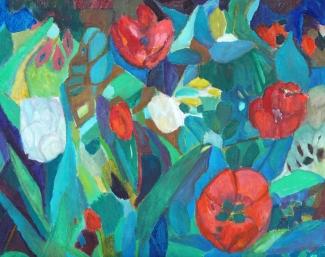 Mieke van den Broek_Tulpen in de tuin_40x50