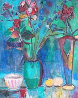 Mieke van den Broek_Vaas met bloemen_40x50