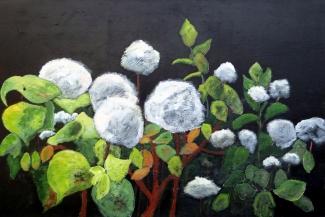 Peter Hoeben_Bladeren en Bloemen 3_Acryl op doek_80x120x4