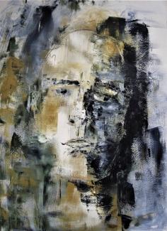 Ted Hezemans Kop op papier_acryl_100x70