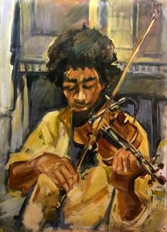 Ton Sommen_Cuba Streetjazz violist_acryl op polyesterdoek_100X75