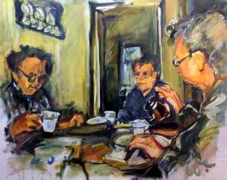 Ton Sommen_Theekransje Nuenen à la Van Gogh_acryl op polyester_90x110