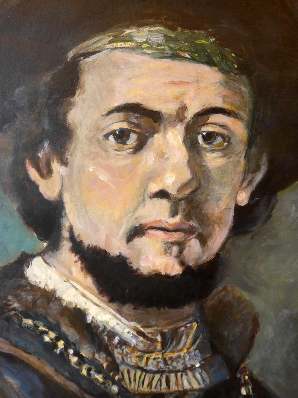 Anton Koenraads_Portret Rembrandt_acryl op karton_50x65