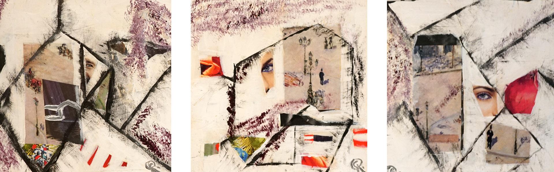 Carla van Rooij_Collages op mdf papier en acryl_15x15