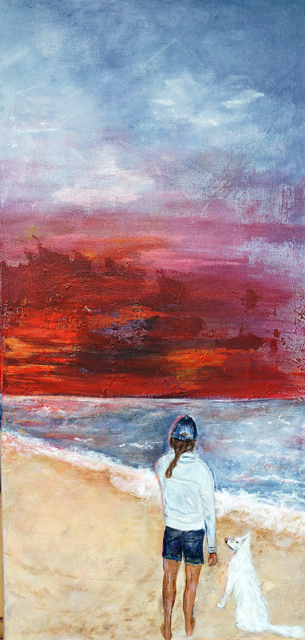Coos van der Ende_Avond aan zee_acrylverf op katoen_40x80