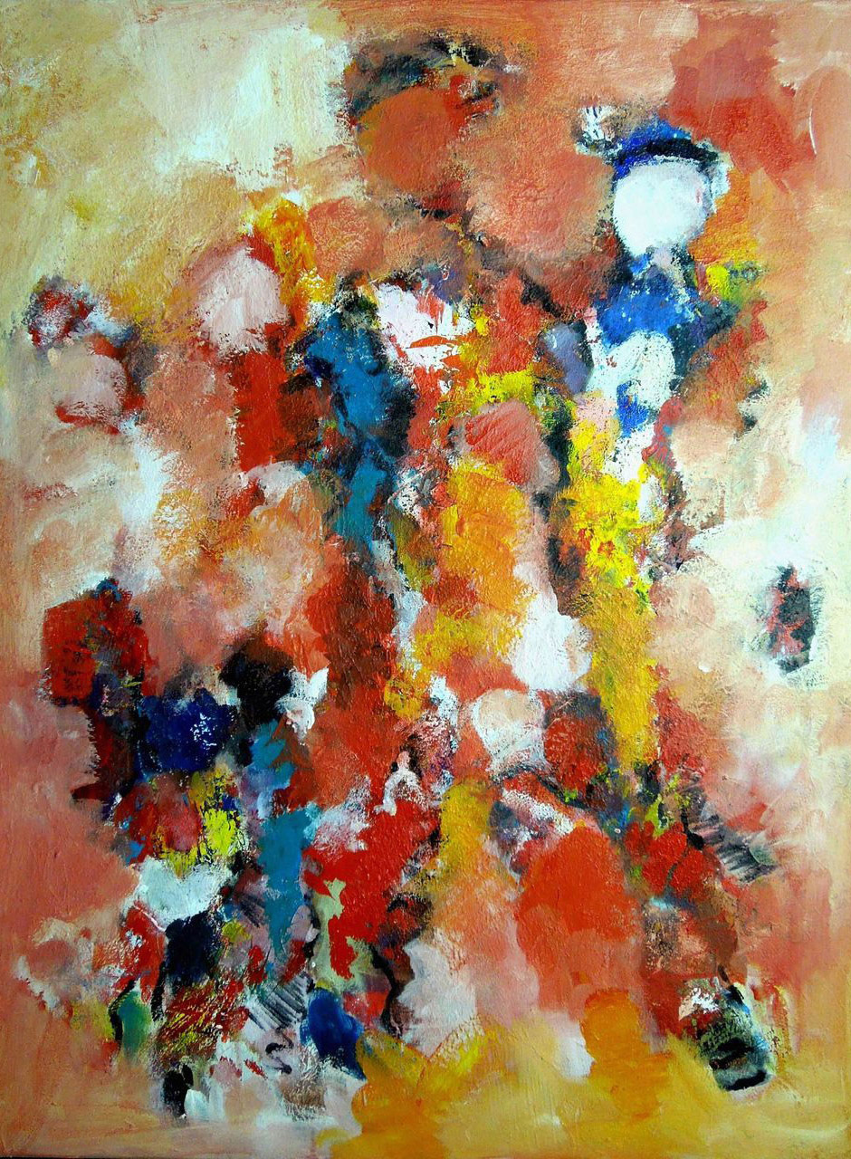 Corrie Bulle_abstract moeder en kind_acryl op doek_60x80