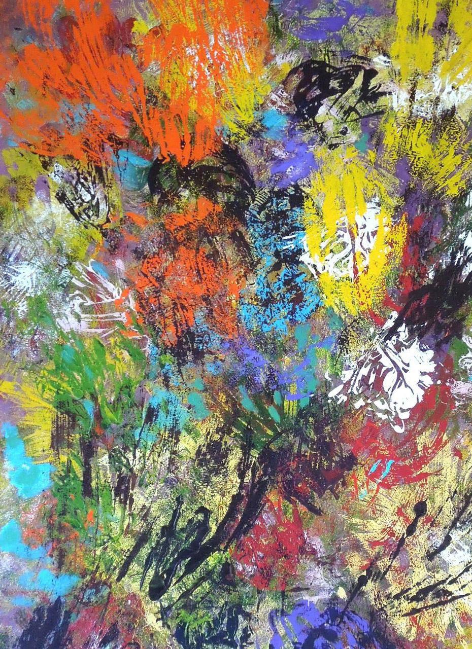 Corrie Bulle_bloemenweelde_acryl op doek_100x80