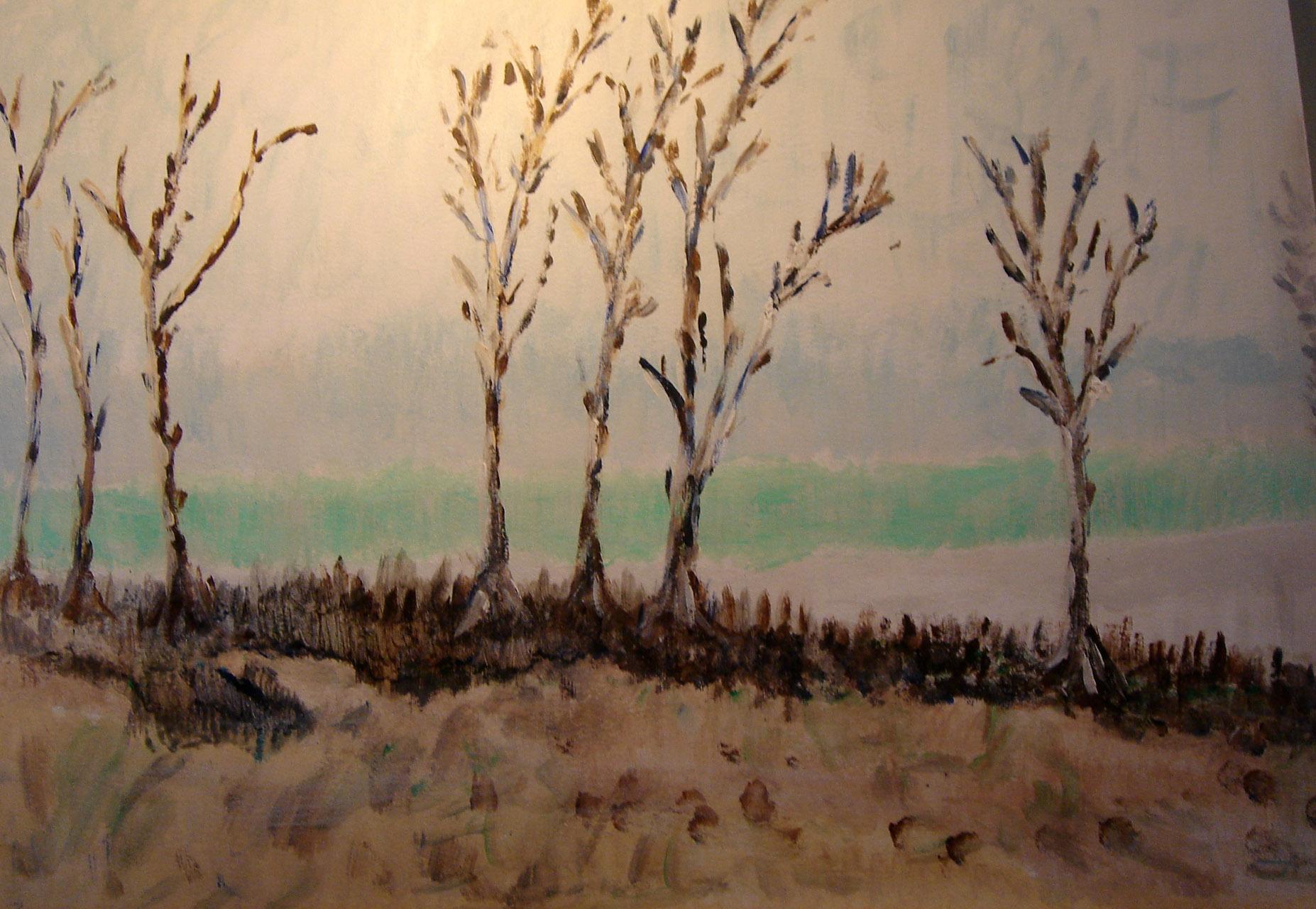 Frans van Bronkhorst_Verlaten landschap_acryl op doek_100x40