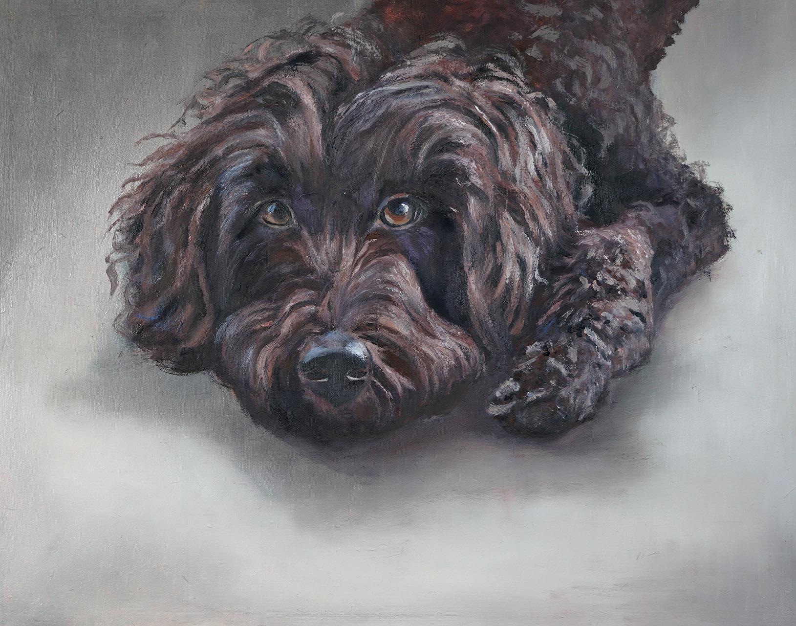 Harrie van der Wielen_Hond Pip_olieverf op paneel_50x40