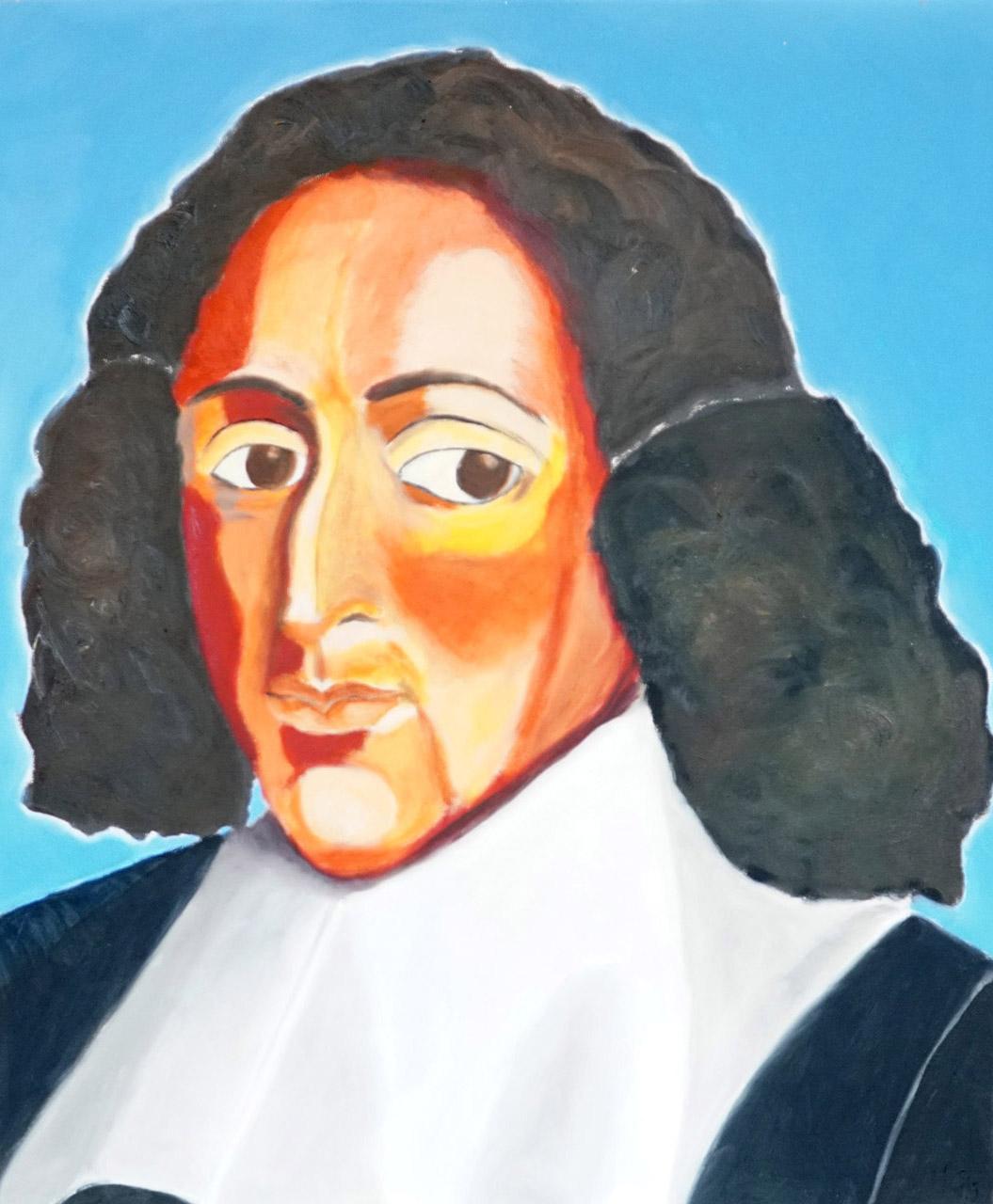 Helma Coumans_Baruch Spinoza, uit de serie dwarse pegels_Olieverf op doek_50x60