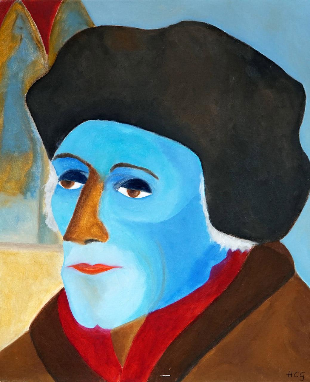 Helma Coumans_Desiderius Erasmus, uit de serie dwarse pegels_Olieverf op doek_50x60