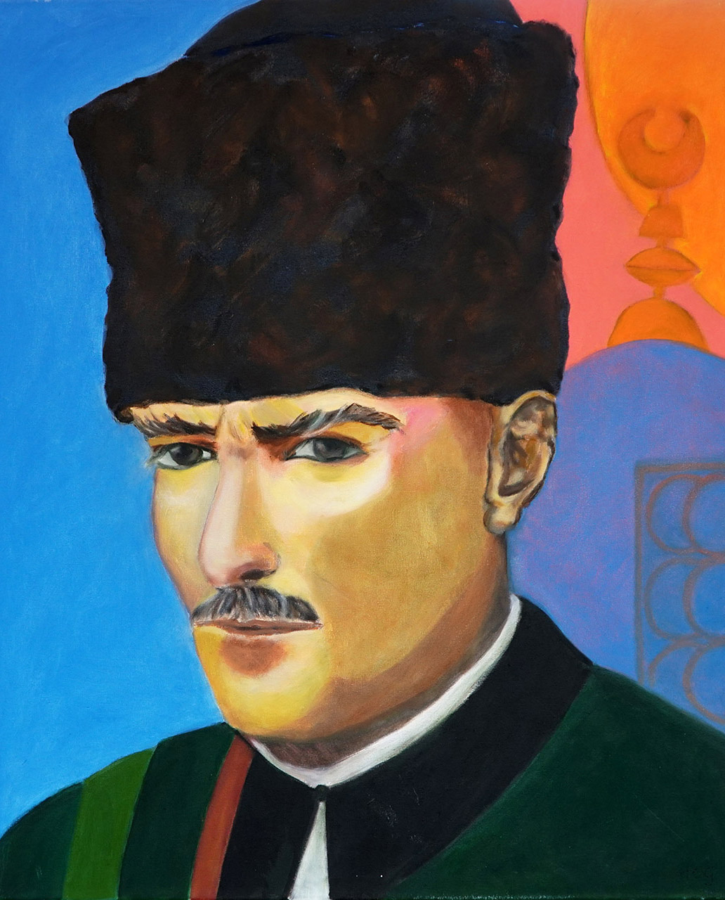 Helma Coumans_Kemal Atatürk, uit de serie dwarse pegels_Olieverf op doek_50x60