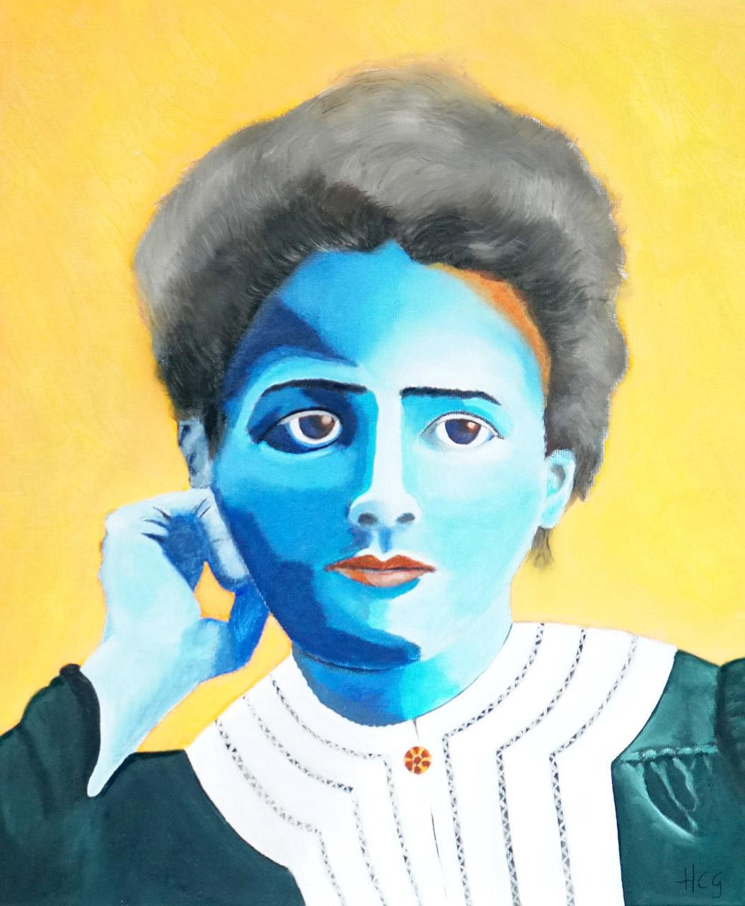 Helma Coumans_Marie Curie, uit de serie geleerde vrouwen_Olieverf op doek_50x60