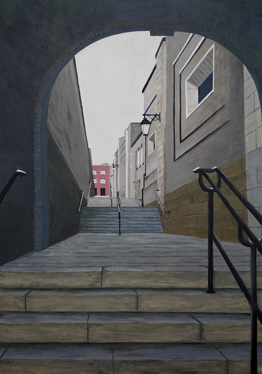 Henk de Wit_Doorkijkje Dublin_acryl op katoen_60 80