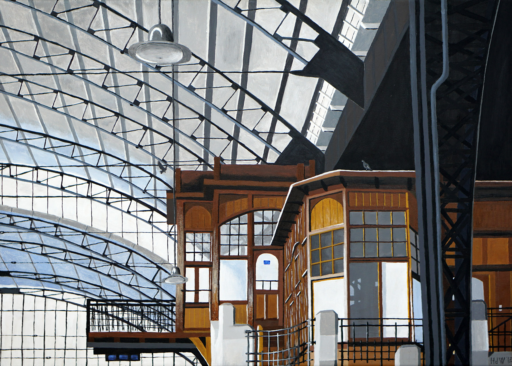 Henk de Wit_Station Haarlem_acryl op katoen_50x70