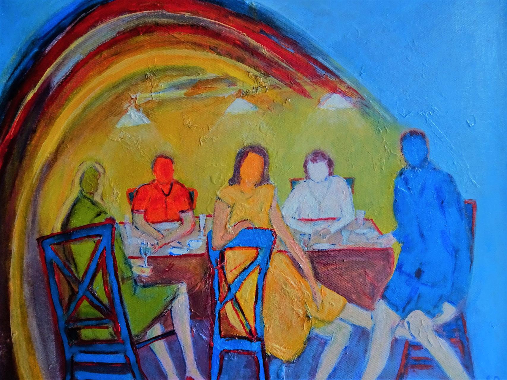 Josina van Amsterdam_Family dinner_gemengde techniek op doek_50x60