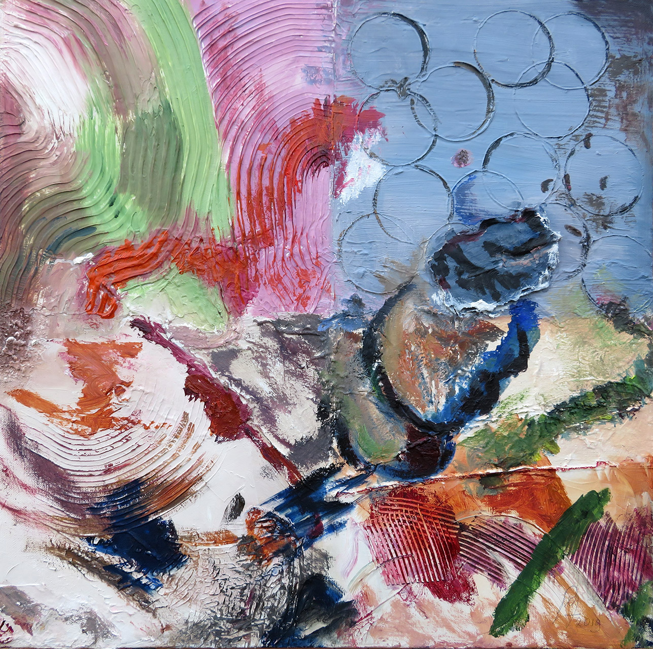 Lies Kempers_Vloer atelier oud_olie op katoen_50x50