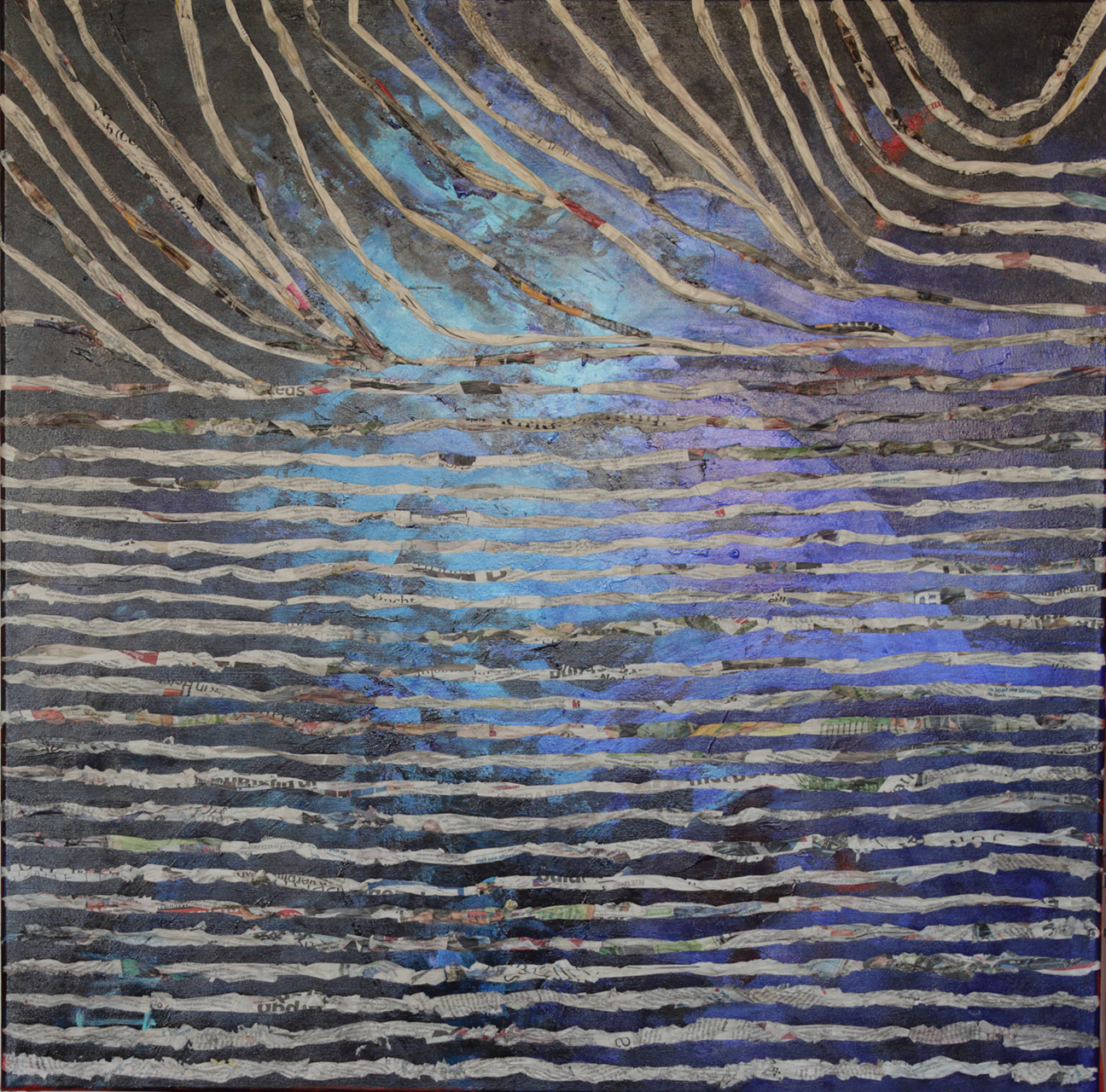 Marja van Dooremalen_Paper waves_acryl op doek_90x90