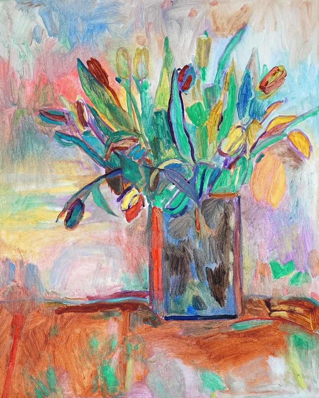 Mieke van den Broek_Vaas met tulpen_40x50