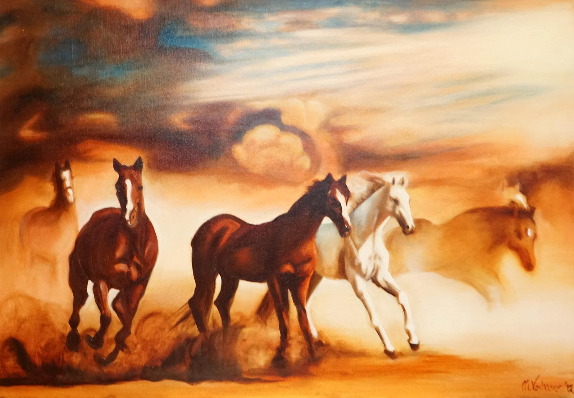 Monique van Wesenbeek_Paarden in de storm_Olieverf op doek_120x8