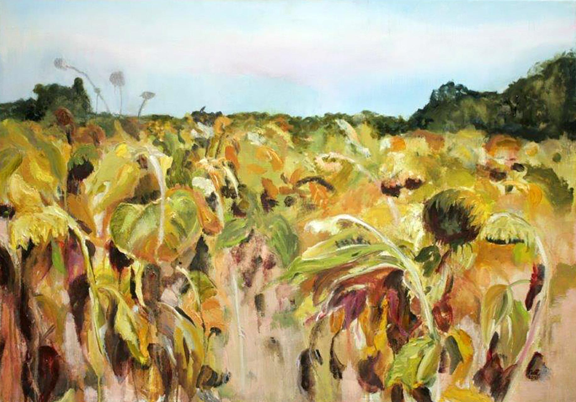 Nell van Eekeren_uit serie zonnebloemen_olieverf op linnen_70x100