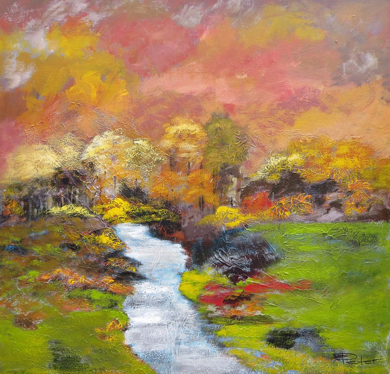Peter Hoeben_Landschap 2_acryl op doek_80x80