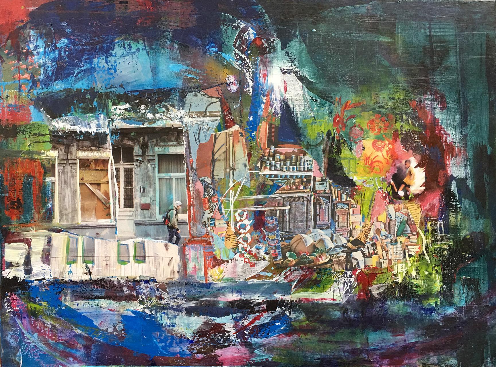 Reinskje Doornbos_Zonder titel_collage en acryl_80x60