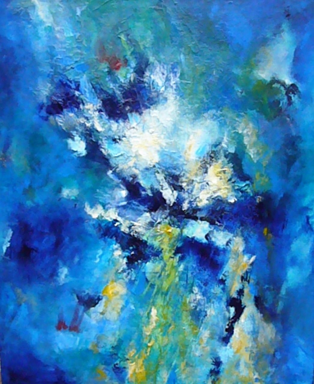 Riet Siemons_Waterval_acryl op katoen_60x50