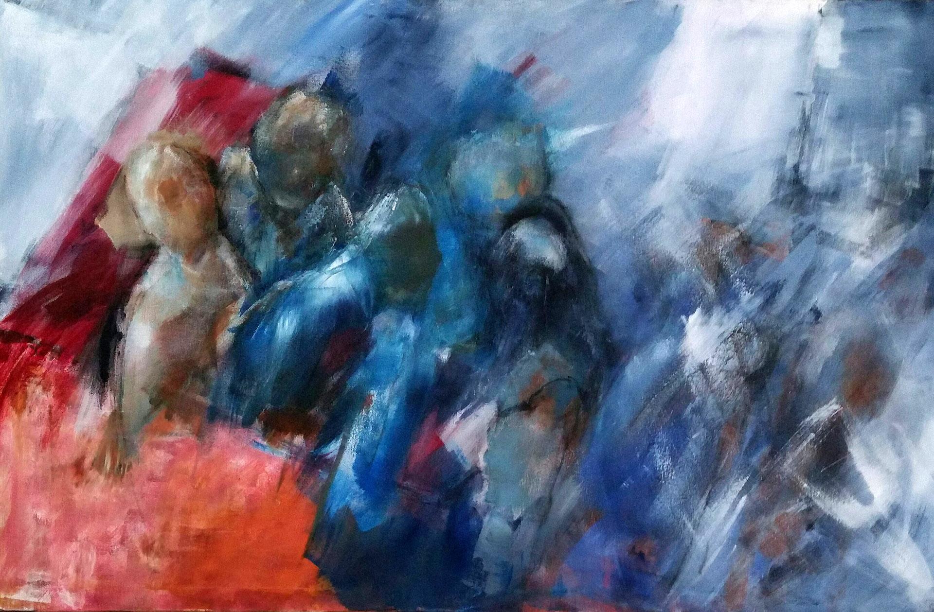 Ted Hezemans_Bootvluchtelingen_acryl op canvas_75x115