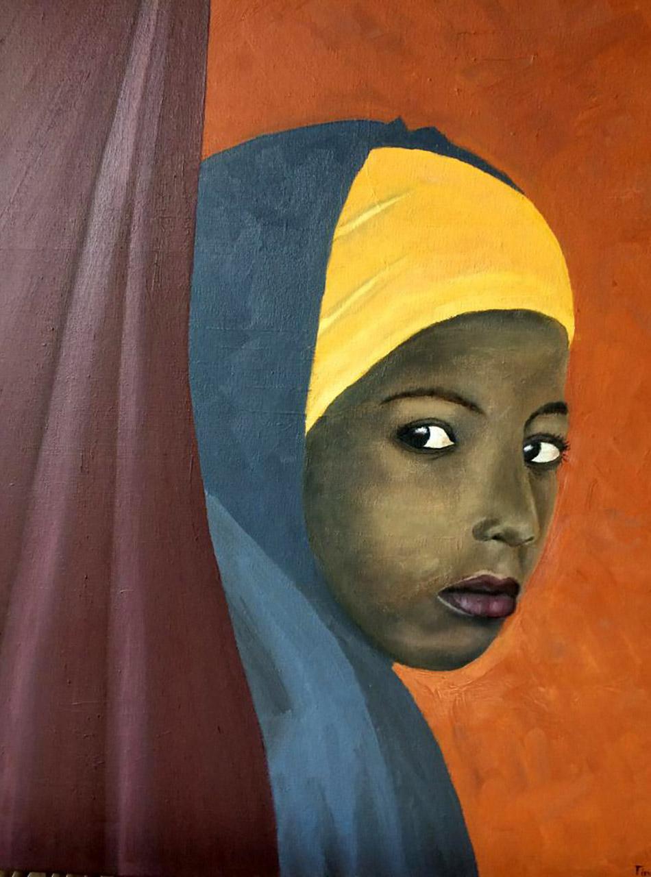 Tiny Dijstelbloem _Afrikaans meisje_olie op canvas_50x60