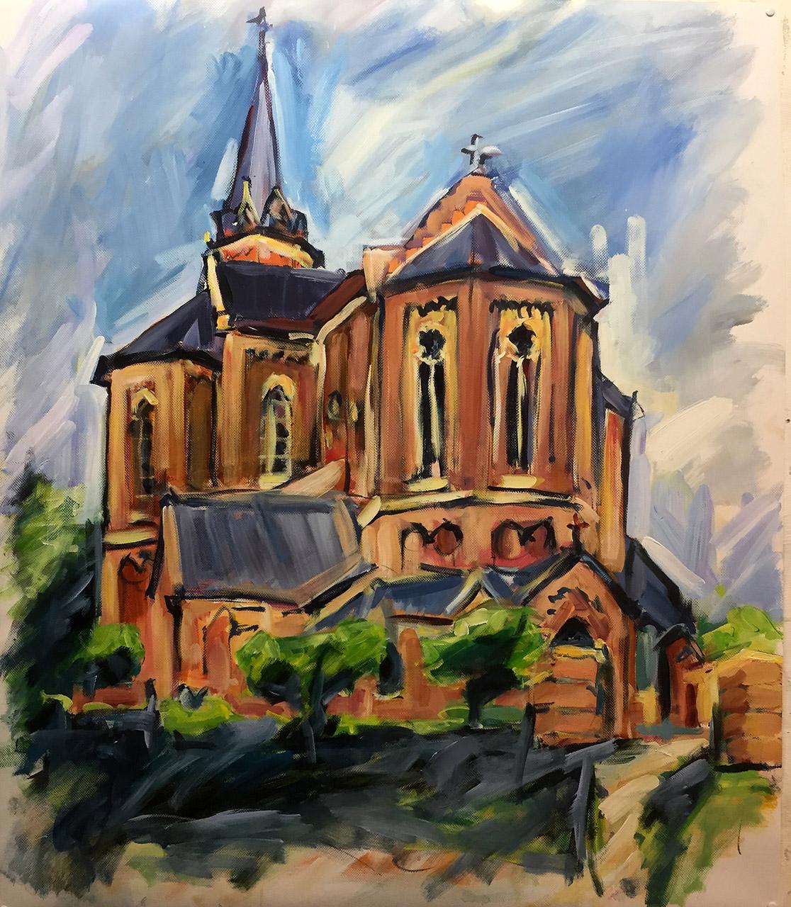 Ton Sommen_Clemenskerk à la Van Gogh_acryl op polyesterdoek_85x95