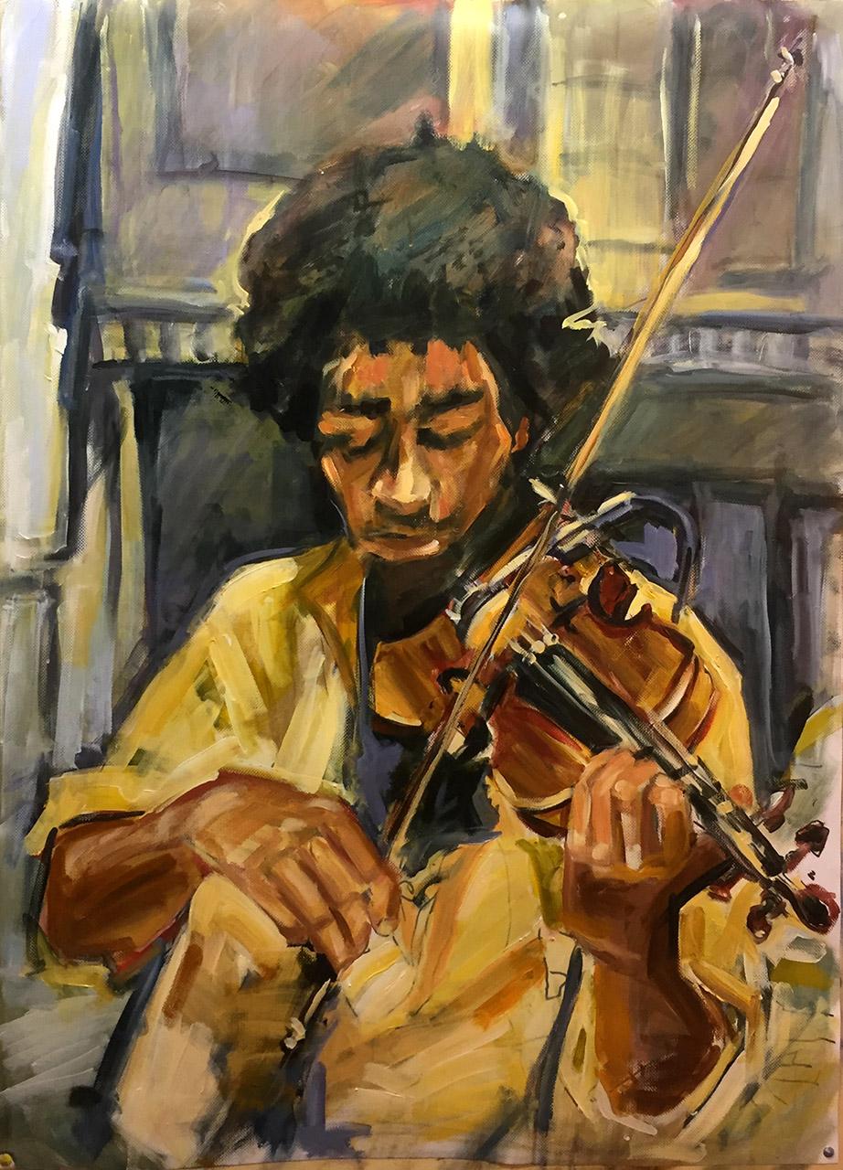 Ton Sommen_Cuba Streetjazz-violist_acryl op polyesterdoek_100X75