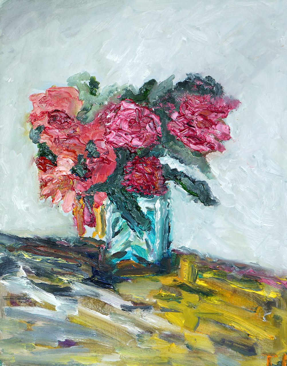 Toon Eliëns_Blauwe vaas met bloemen_olieverf_50x40