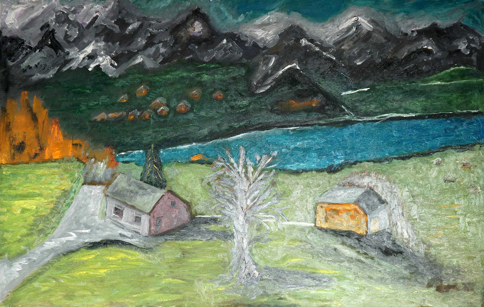 Toon Eliëns_Landschap met bergen_olieverf_110x75