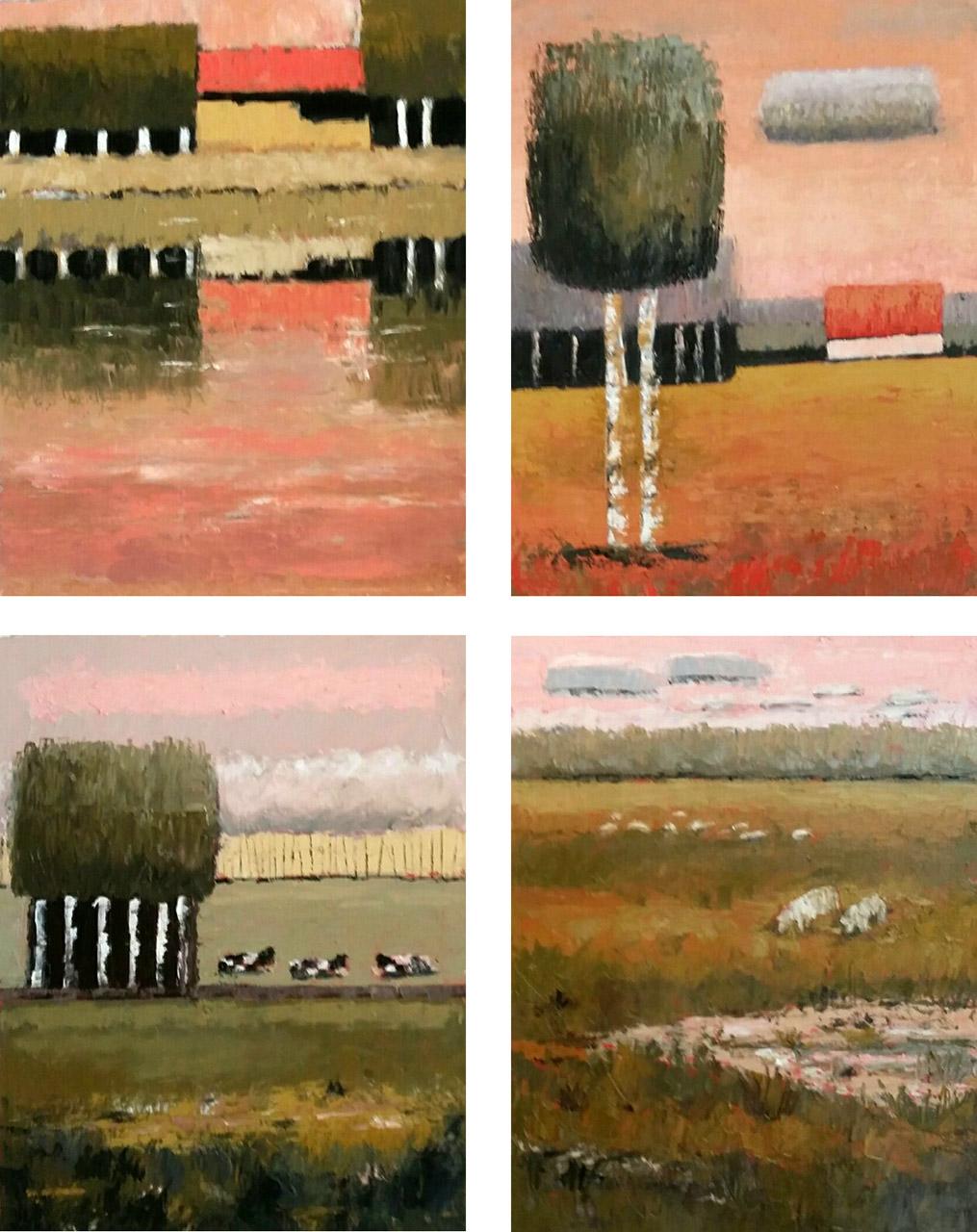 Yozay (José Kreveld-Soons)_4-luik in Zornkleuren_olie op papier_4x40x50