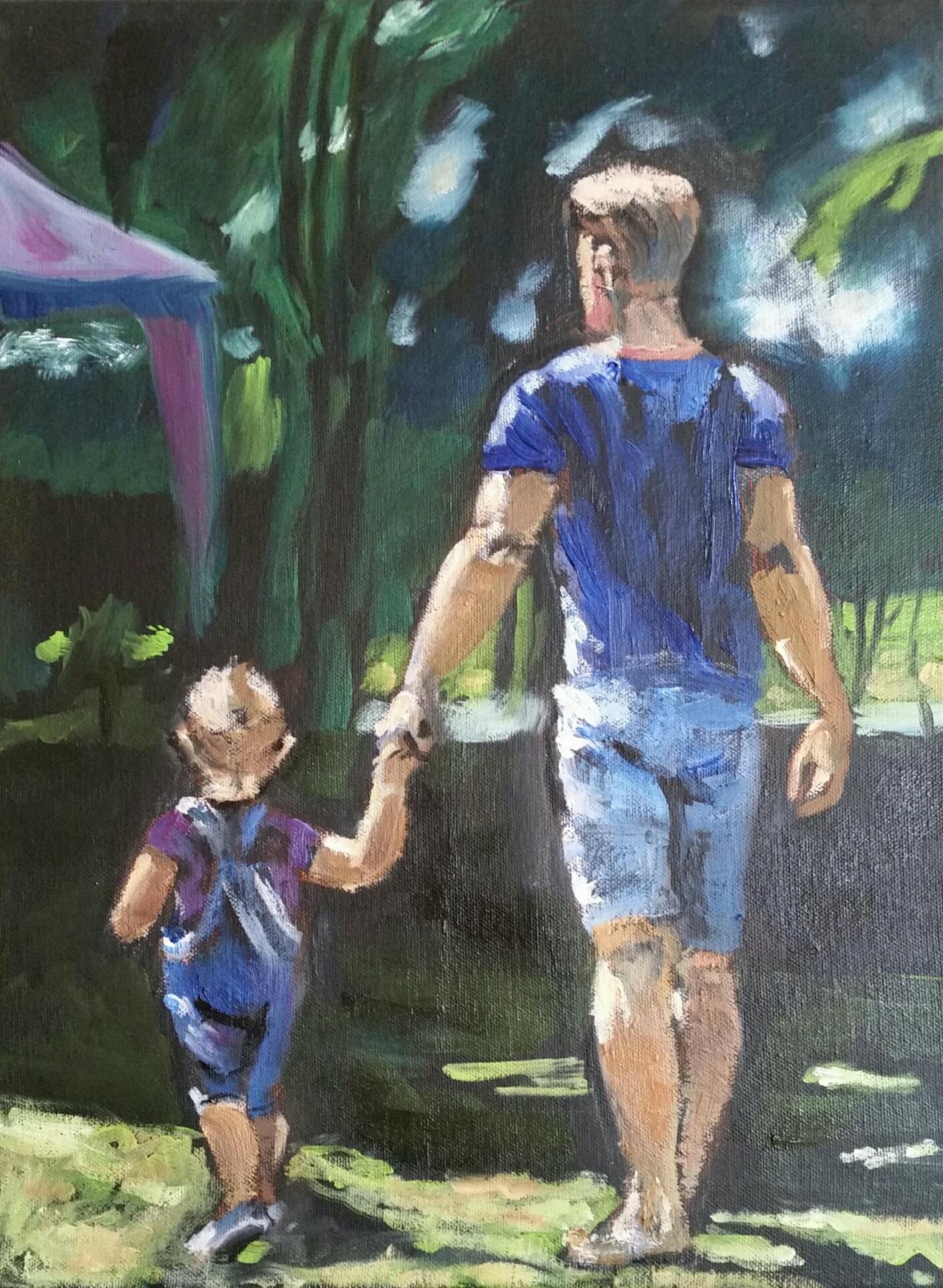 Yozay (José Kreveld-Soons)_Vader en zoon_olie op doek_30x40