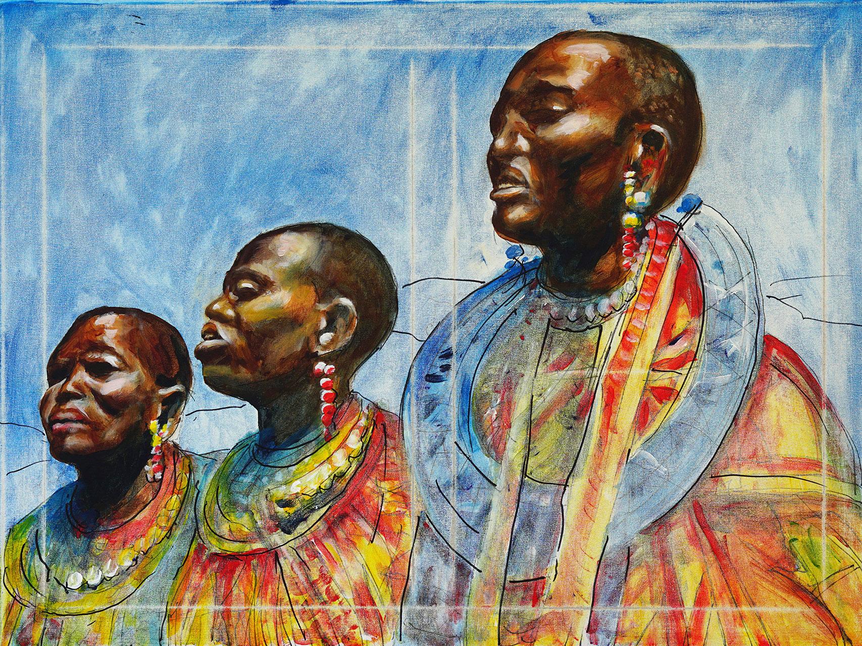 Hans Könemann_Drie Masaï-vrouwen_acryl op doek_60x80