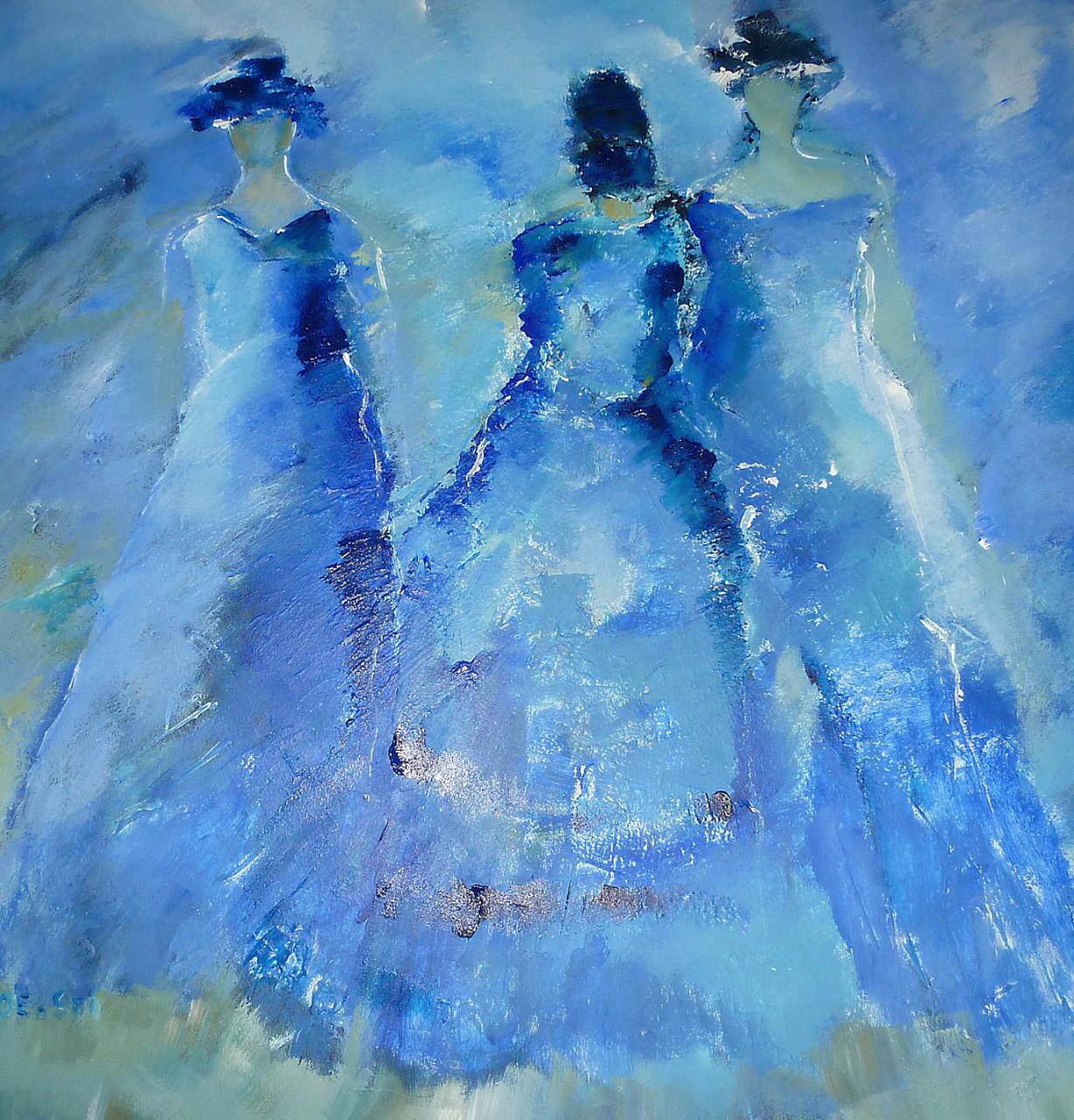 Loes Beks_Blue Dance_acryl op doek_100x100