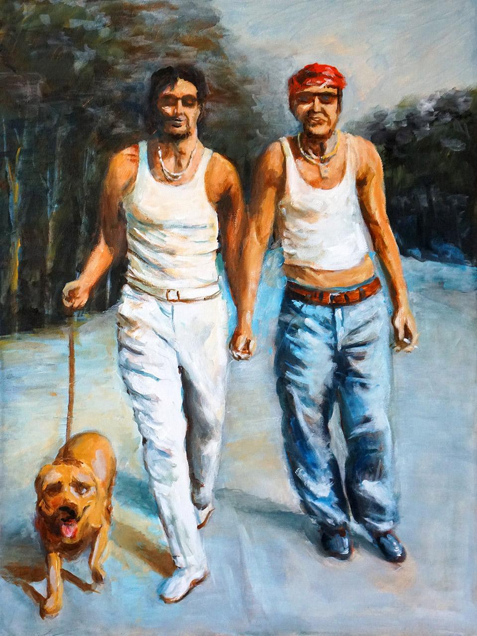 Hans Könemann_Twee mannen met hond_acryl op doek_60x80