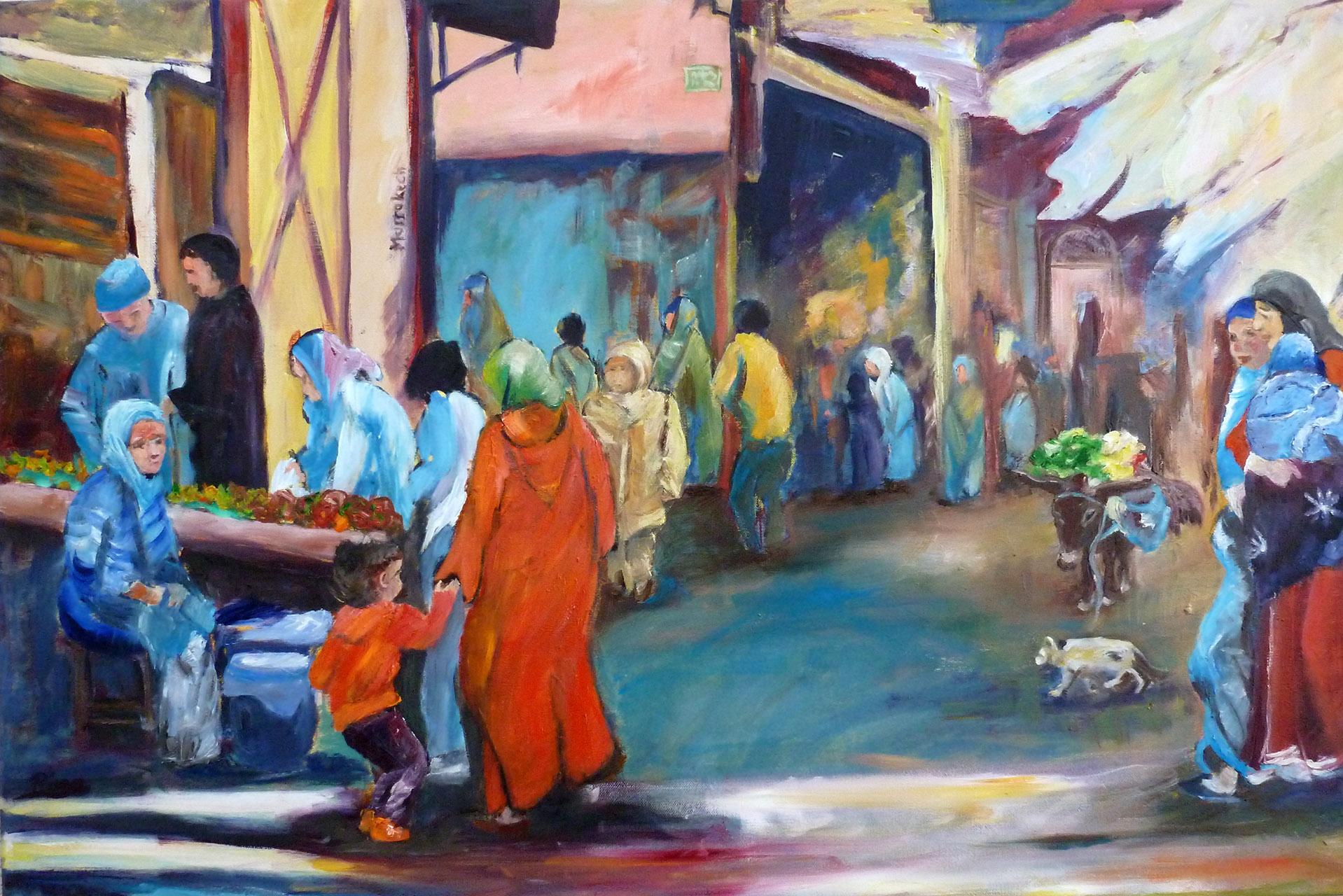 Rina Bekkers_Marokko Oude Kasba_olie op doek_90x60